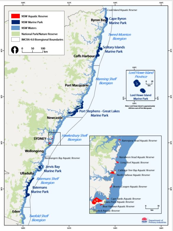Map of NSW Marine Protected Areas