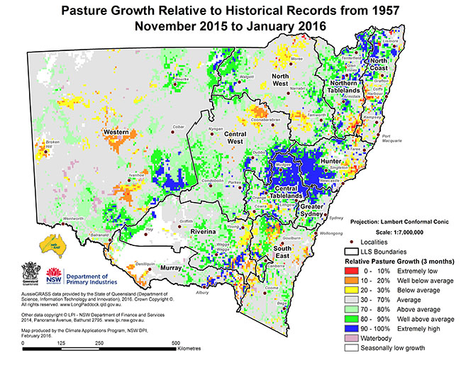 Pasture growth map up to January 2016