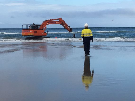 Day three of barrier construction at Lennox Head