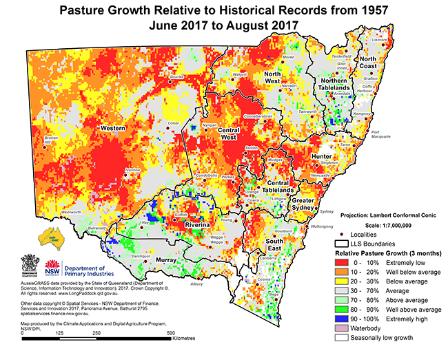 Small map of pasture growth relative to historical records from 1957 - May 2017 to July 2017