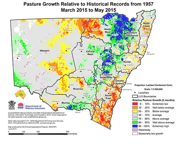 Pasture growth map - June 2015