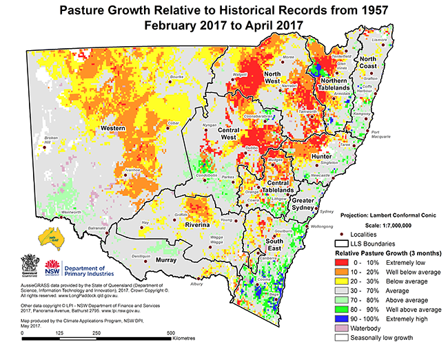 Small version map of pasture growth relative to historical records from 1957 (February 2017 to April 2017)