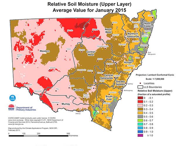 Soil moisture map