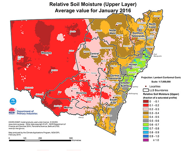 Soil moisture map up to January 2016