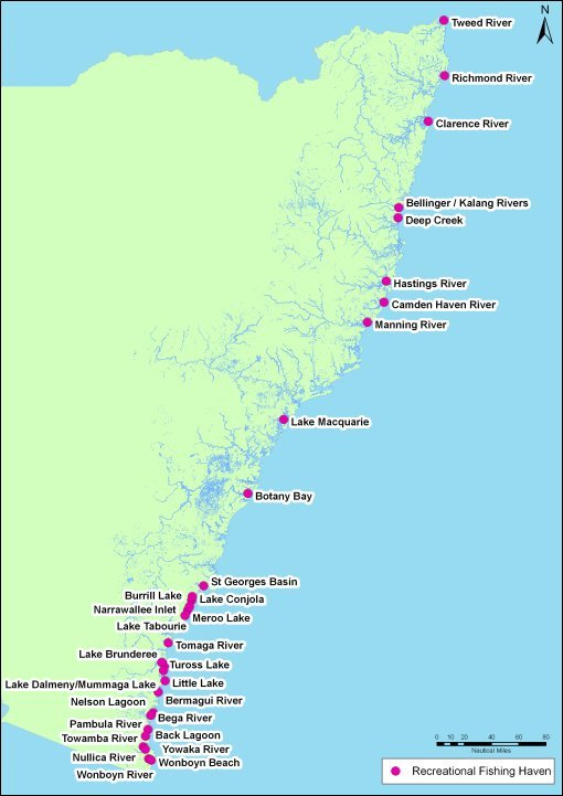 A map showing the location of NSW Recreational Fishing Havens