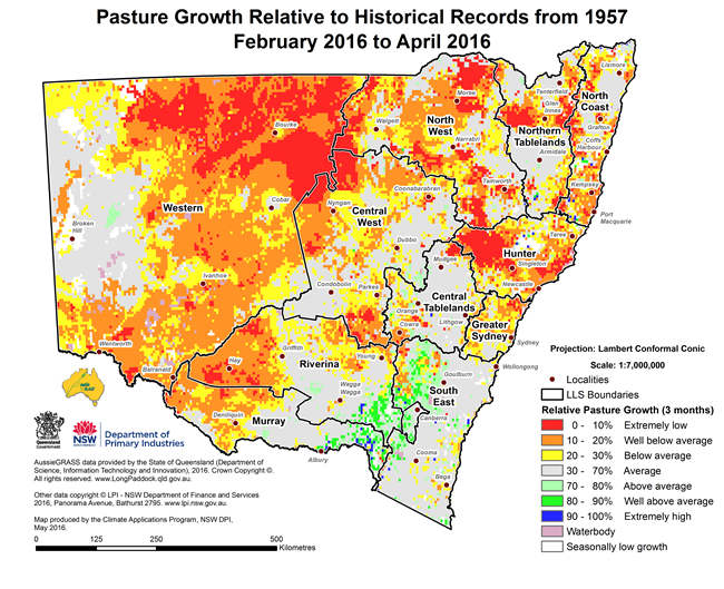 Map of Pasture Growth relative to Historical Records from 1957; February 2016 to April 2016