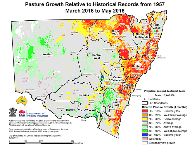 Map of pasture growth relative to historical records from 1957, March 2016 to May 2016