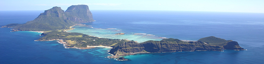 Lord Howe Island Marine Park from the air, Photo: Geoff Kelly MPA