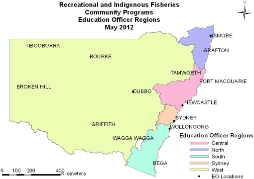 Recreational and Indigenous Fisheries Community Programs Education Officer Regions maps