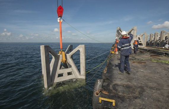 An artificial reef is deployed in waters off the Shoalhaven.