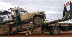 A Fisheries Officer impounds a vehicle used in an illegal fishing operation in the State's far west