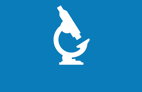 Research & development blue icon
