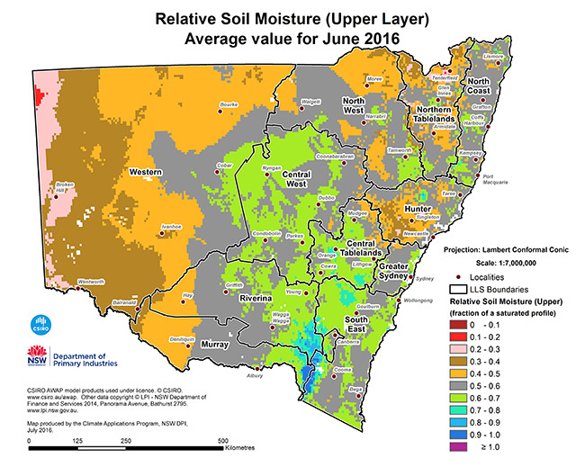 Figure 1. Relative monthly topsoil moisture