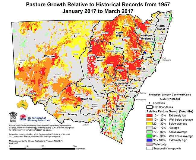Small version map of pasture growth relative to historical records from 1957 (January 2017 to March 2017)
