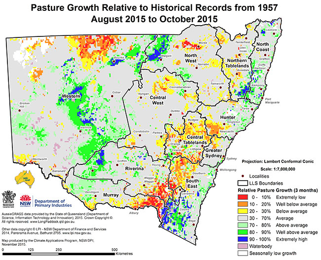 Pasture growth map
