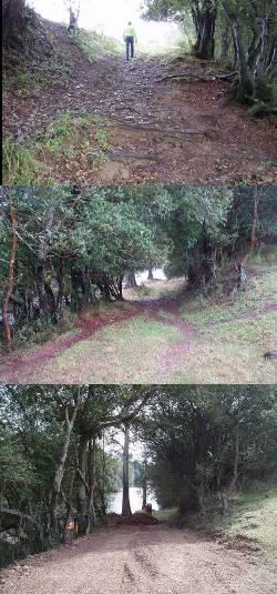 Securing access down a steep ramp