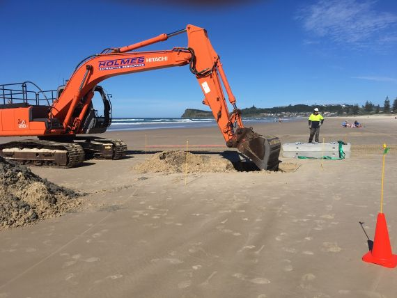 Day one of barrier construction at Lennox Head