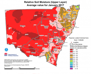 Map showing the relative soil moisture comparison for January 2017