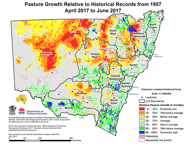 Small map of pasture growth relative to historical records from 1957 - April 2017 to June 2017