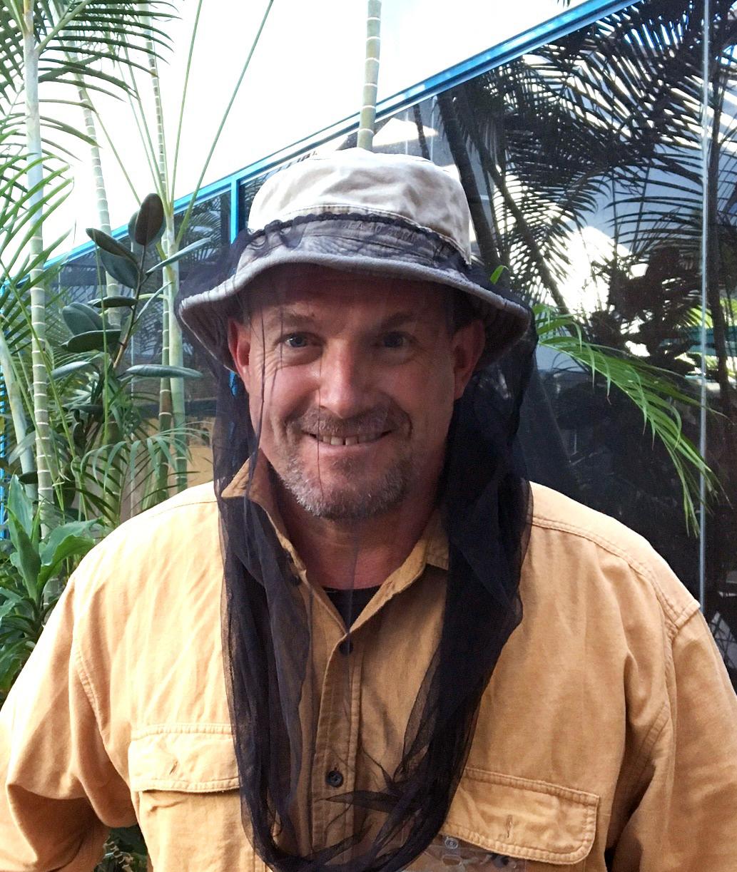 Rod Bourke with bee hat/net