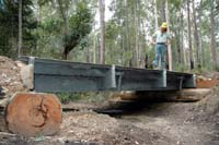 Forestry Corporation operations forester at Wauchope Karel Zejbrlik sizes up a span of the old Sydney Iron Cove Bridge that is now in use as a temporary bridge in Broken Bago State Forest