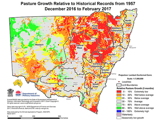 Map showing pasture growth for March 2017