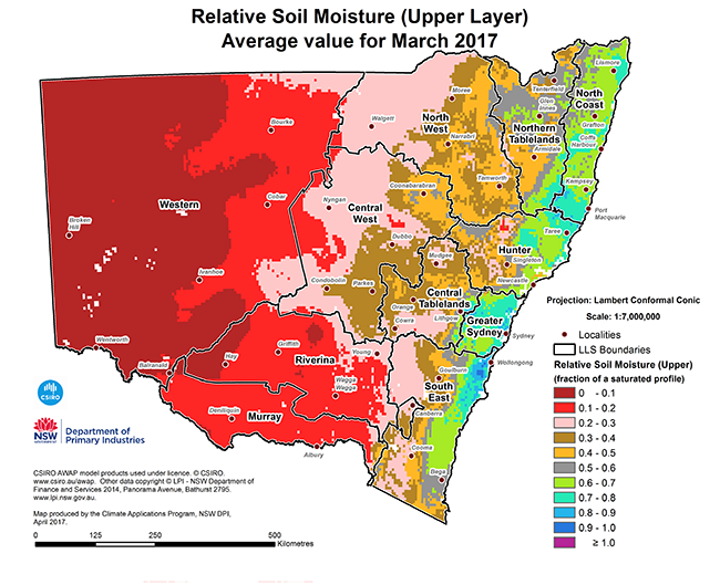 Small version map of relative soil moisture (upper level) average value for March 2017