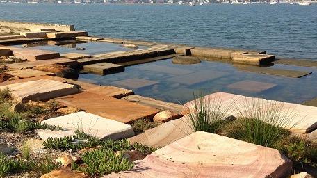 Seawall pools and levels at Carss Park, Rockdale, Botany Bay