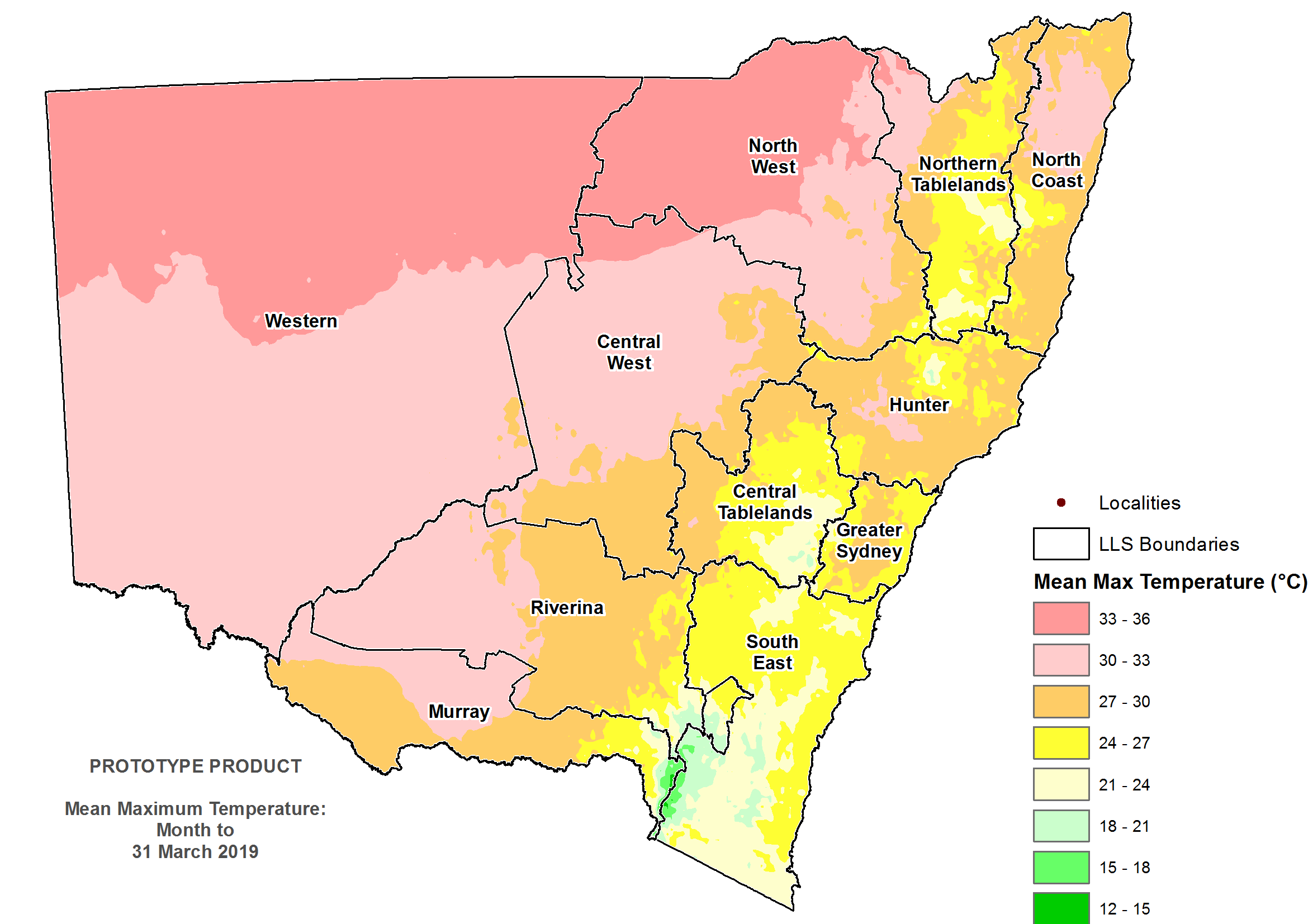 Average daytime temperature March 2019 - For an accessible explanation of this image contact scott.wallace@dpi.nsw.gov.au