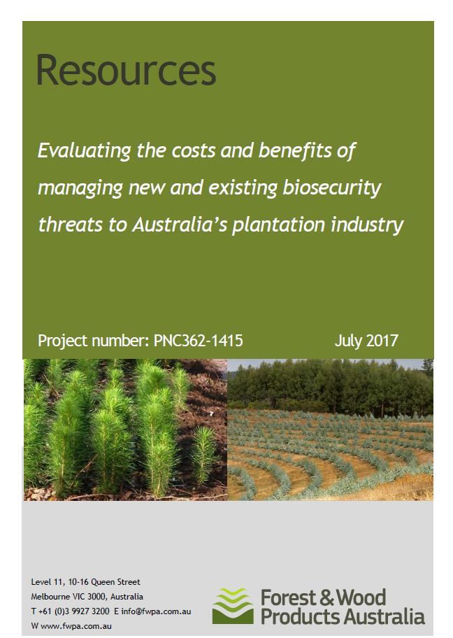 Link to FWPA Report - Evaluating the costs and benefits of managing new and existing biosecurity threats to Australia's plantation industry