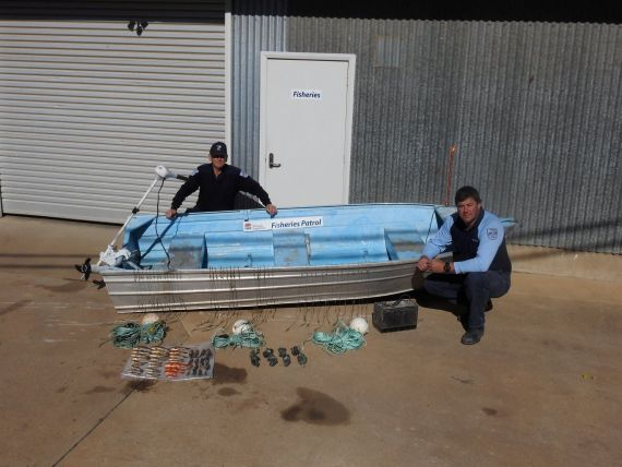 Fisheries Officers with boat, motor and fishing gear seized in North Western NSW