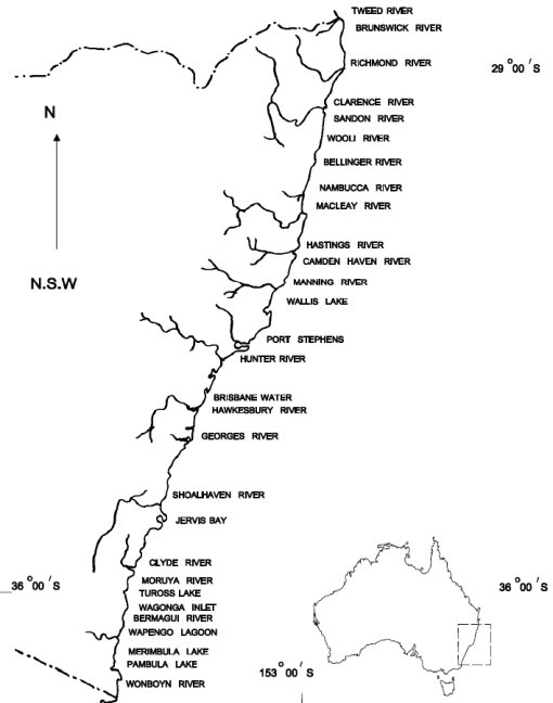 The location of major oyster producing estuariesin NSW