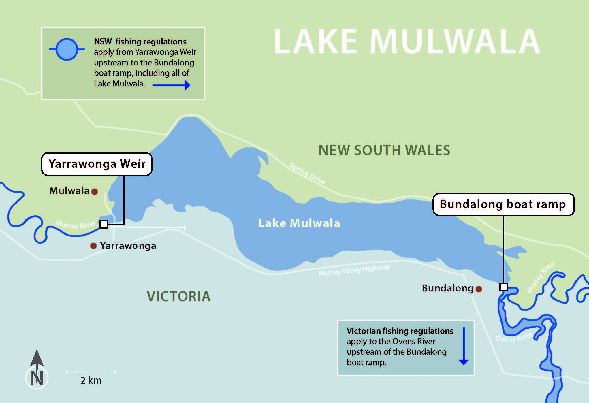 Map showing the location of Lake Mulwala