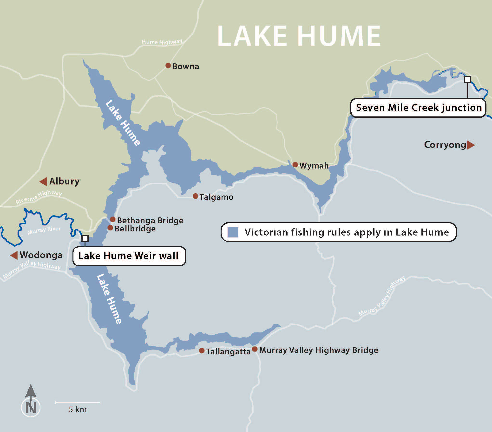 Map showing the location of Lake Hume