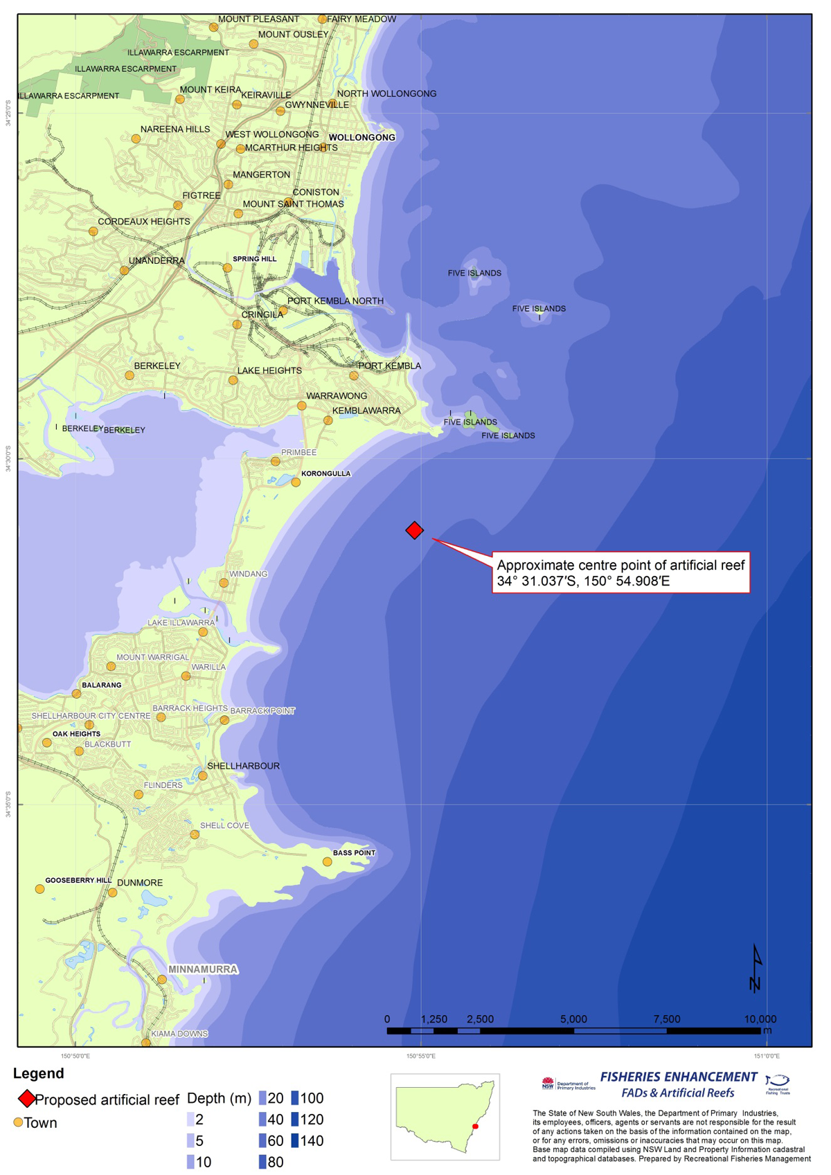 Wollongong offshore artificial reef proposed location for consultation