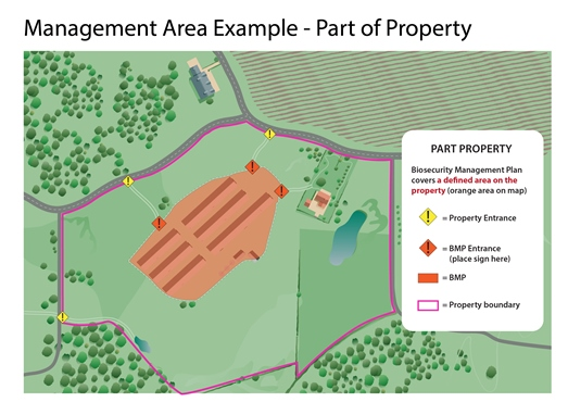 Map of management area example for part of property