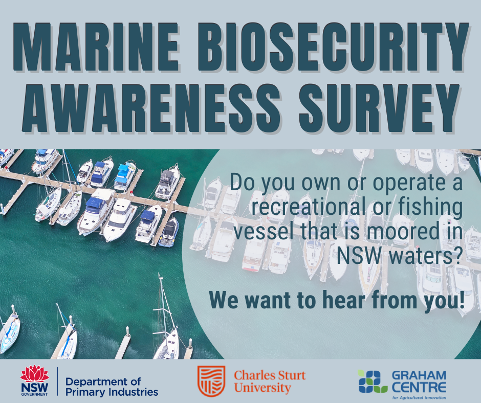 Marine Biosecurity Awareness Survey. Do you own or operate a recreational or fishing vessel that is moored in NSW waters? We want to hear from you!