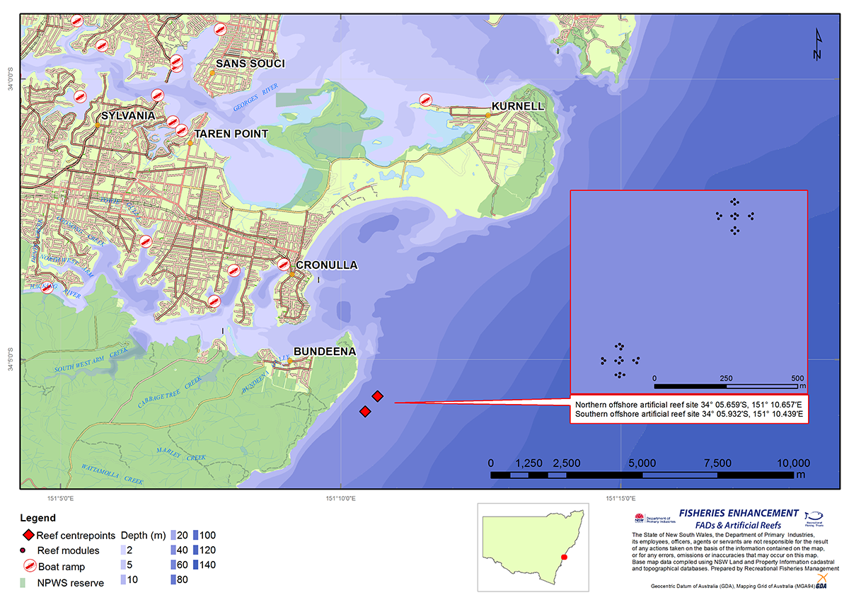 Map showing the location of the artificial reef instalation