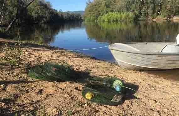 Illegal yabby traps seized from the Gwydir River near Bingara NSW