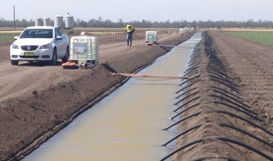 large irrigation channel in cotton field with black poly pipe