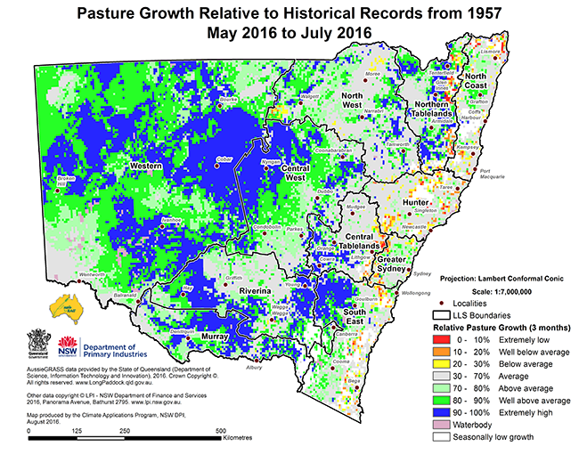 Map of pasture growth relative to the historical records from 1957 for May 2016 to July 2016