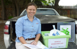 Parkes district agronomist Karen Roberts with the contents of her new vehicle biosecurity kit.