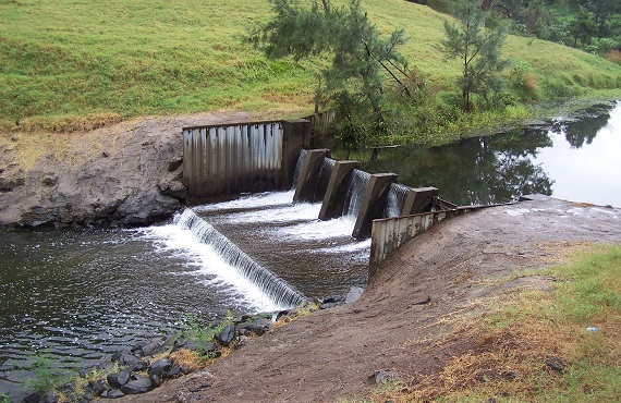 Weir in waterway