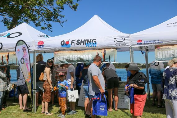 Crowds looking at information stalls at Gone fishing day 2019