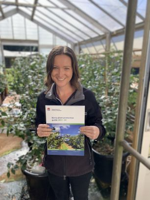 NSW DPI berry development officer Melinda Simpson with the new Berry Plant Protection Guide