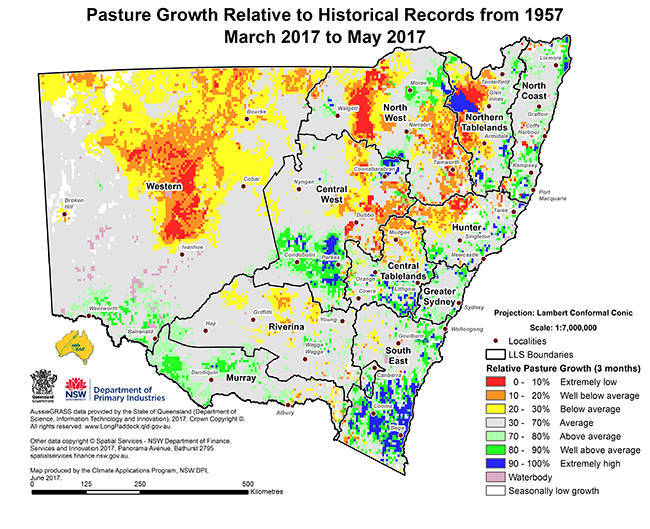 Small map of pasture growth relative to historical records from 1957 - March 2017 to May 2017