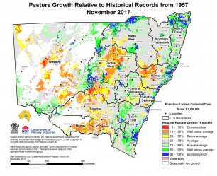 map of pasture growth relative to historical records from 1957 to November 2017