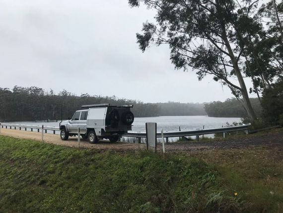 Fisheries patrol vehicle at Wentworth Falls Dam in the Blue Mountains