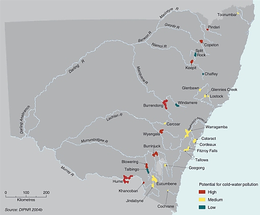 Potential impacts of NSW large dams releasing cold water