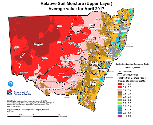 Small version map of relative soil moisture (upper level) average value for April 2017